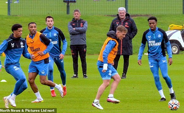 Steve Bruce is still in charge of Newcastle's squad for regular training on Tuesday